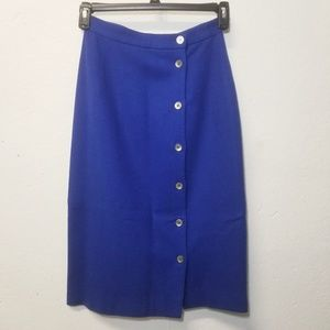 Dresses & Skirts - JOHN WEITZ Wool Royal Blue Button Skirt